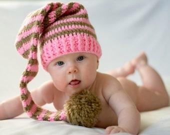 Elf Stocking Hat. baby elf hat.Hat stocking photo prop.Newborn photography prop.Newborn Baby CHRISTMAS Knitted Elf Hat for Photography Props