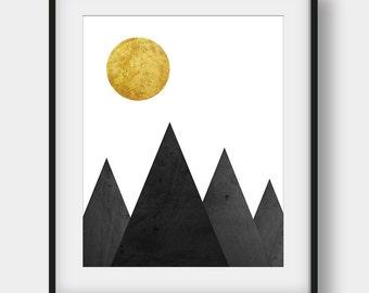 50% OFF Mountains Print, Scandinavian Print, Minimalist Print, Black And Gold Print, Mountains Poster, Mountains Decor, Digital Download