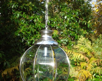 A vintage retro 1970's smoked chrome/glass lantern(9726)
