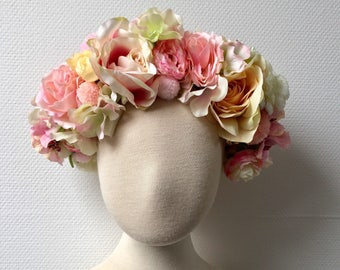 Flower crown - bridal crown - headpiece - ballet pinks - vintage - bohemian - festival - blush colors - headband - couronne de fleurs - prom