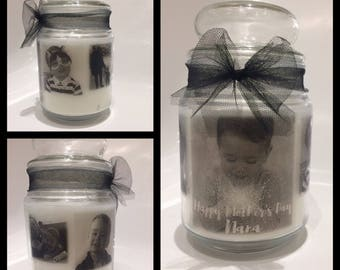 Mother's Day personalised photo candle