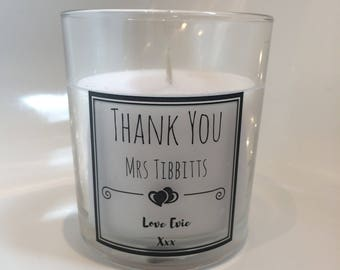 Teacher Thank you candles end of year personalised gift