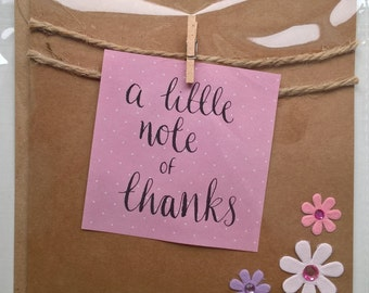 Handmade thank you card bunting