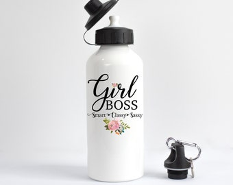 Girl Boss Water Bottle, Feminist Water Bottle, Entrepreneur Gift, Smart Classy Sassy, Gift For Her, Girl Power, Boss Gift, Women's Rights