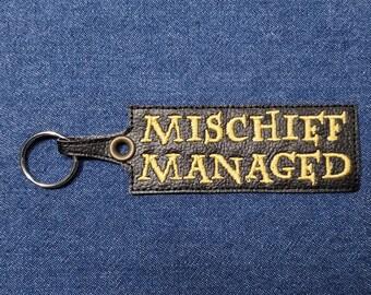 """Mischief Managed Keychain – 5"""" x 1.5"""" Marauders Keychain – Potterhead Keychain – Geek Keychain – Geeky Keychain – Nerd Keychain"""