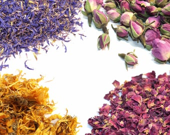 Dried Flowers - 27+ Types Of Botanicals  - Natural, Biodegradable, Dried Petals, Craft, Bath Bomb, Wedding   - Your personal Garden