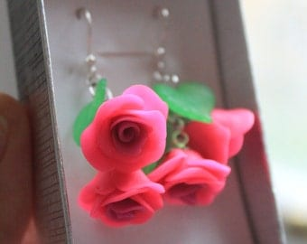 SALE Hot Pink Rose Earrings from Polymer Clay Gift for Her Valentine