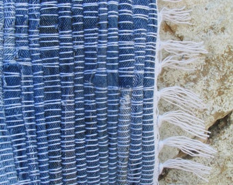 Singing in the Sunshine- Handwoven Denim Rag Rug, blue jean rug, denim runner rug, blue rag rug, blue rug, denim runner rug, jean rug