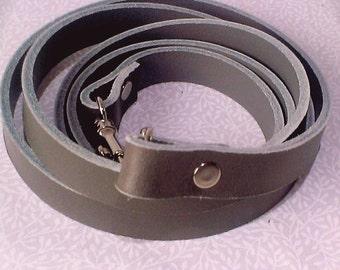 Grey leather cross body bag strap, handbag strap, bag strap, leather strap.