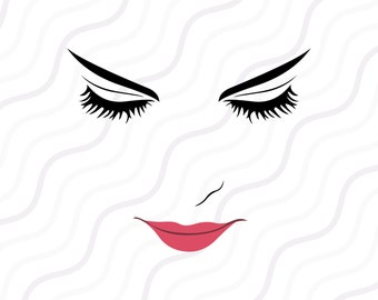 Women Face SVG, Women Face Clipart, Face SVG, Eyes SVG Cut table Design,svg,dxf,png Use With Silhouette Studio & Cricut_Instant Download