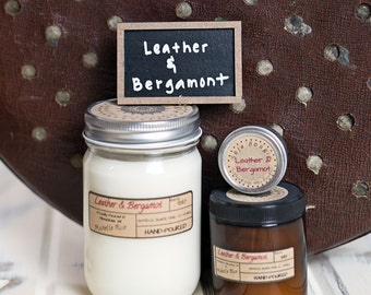 Soy Candle - Leather & Bergamot - Spring Scents 2017
