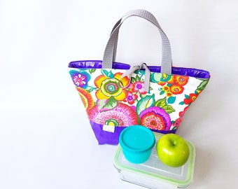 Lunch, insulated, waterproof, lunch bag, flowers, colorful flowers, violet, glitter, lunch bag, lunch time, insulated bag, spring