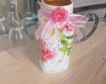 Jar centrepiece vintage rustic vase apothecary wedding decoupage roses