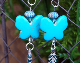 Acrylic Turquoise or Green Butterfly Dangle Earrings