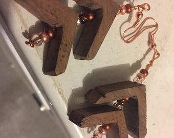 Wood Earrings, Walnut and Glass Beads, Chandelier Earrings, Woman gift idea, Girlfriend gift idea