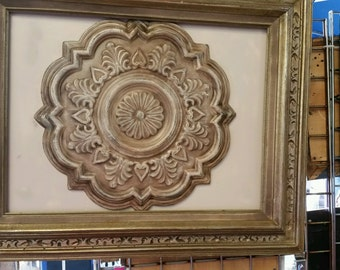 Shabby Chic Framed MetalMedallion  Wall Art, Home Decor