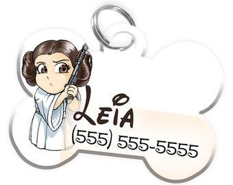 Disney Star Wars Princess Leia Custom Personalized Pet ID Tag for Dog