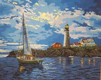 Hand-painted sailboat near lighthouse scene, completed paint by number