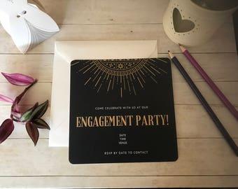Golden Art Deco Engagement Invitations