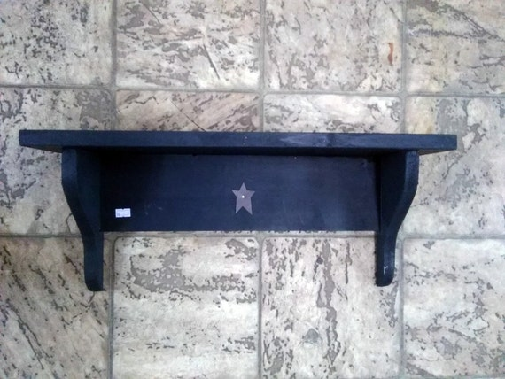 24 inch wooden wall shelf with rusty star. Black Bedroom Furniture Sets. Home Design Ideas