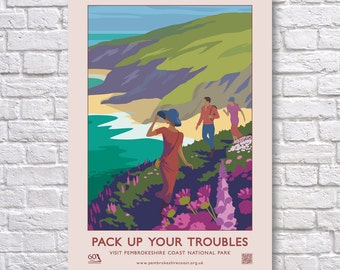 """Pembrokeshire Coast """"Pack Up Your Troubles"""" 60th Anniversary Retro Poster."""
