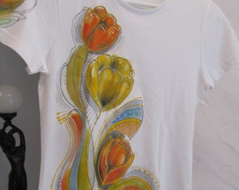 """Hand-painted T-shirt""""Orange and Yellow Tulips,hand-painted clothing,100% cotton top hand painted flowers orange,yellow,unique gift for Her"""