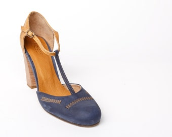 Leather high heel SHOES mary janes, leather official women's SHOES, camel and blue womens SHOES, womens heeled shoes, gift idea for her