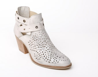 Women's Leather ankle boots, leather high heel booties white, laser cut leather boots, women leather booties boho, laser cut decorated shoes