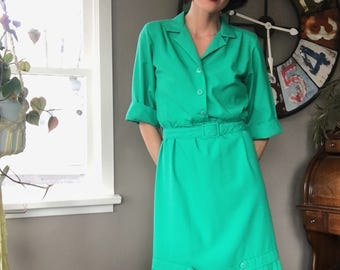 1950s Vintage Pin-up Dress, 50s Pin-up Dress, Green Vintage Dress, Vintage 50s Green Dress, Pin- up Dress with Pleats