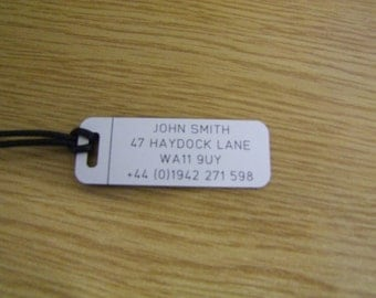 Custom Engraved Hand Luggage Tag