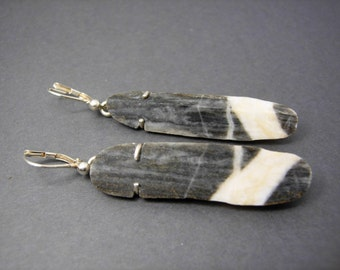 Earrings from polished River stone with Silver earrings