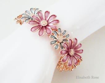 Rose Gold Enamelled Floral Bracelet, Daisy Flower Bracelet, Wine and Grey Flower Bracelet, Floral Daisy Bracelet, Bridesmaid Bracelet
