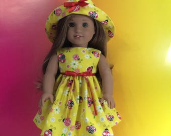 Lady bug sundress and sun hat for American girl doll 18""