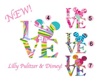 LOVE DISNEY Quality Vinyl Decal, Lilly Pulitzer,  Mickey Mouse, Walt Disney, Yeti Decal, Car Decal, Gifts for Disney Lovers, Cute Decals!