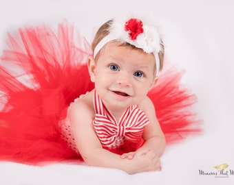 Red and white baby tutu dress, baby tutu