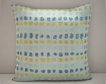 Abstract dots checked seafoam teal and yellow cushion cover