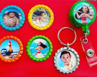 Moana magnets, keychain, badge reel & keychain set