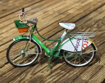 Miniature model bicycle ornament made from recycled cans gift for cycling enthusiasts