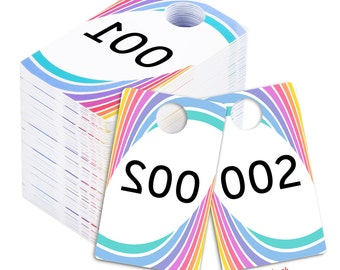 Live Sale Plastic Tags, Reg.& Reverse Mirror Image Backwards Numbers Facebook Sales Reversed Mirrored Hanger Cards, Choose a 100 Set,001-500