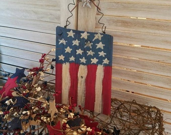 Primitive Vertical American Flag