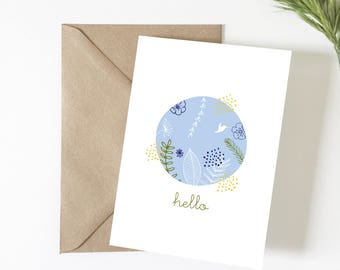 Hello greeting card, illustration, summer, tropical decor, card friendship, happiness, stationery, exotic card, flowers, decorative card