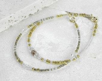 Delicate Layering Bracelet Set, Gold Crystal Bead Bracelet, Dainty Friendship Bracelet, BFF Gold Fill, Tiny Boho, Gift for her