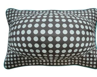 Pillowcase BUBBLE, dark grey / mint, 60 x 40 cm (without filling)