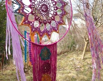 Crochet psychedelic flower dreamcatcher