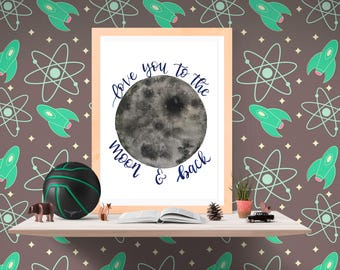 Love you to the moon and back watercolor print - watercolor print - art print - watercolor art - glicee print - moon watercolor print