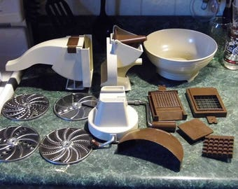Vintage ALL in 1 multi function Grater Shredder Slicer Press -Cheese, Meats, Veggies, Dough MORE! 14pc set