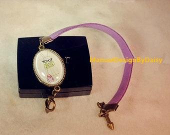 Purple girl Bunny Faux suede Bracelet,  Bronze Metal Bracelets,Rabbit Bracelets,Matching Couples Bracelets