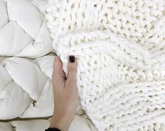 Chunky knit blanket 55x67 in (140x170cm) / Strickdecke/ Wolldecke/ Merinowolldecke/ Wollplaid/ Tagesdecke