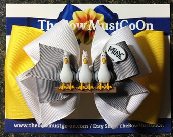 Mine Mine Mine Bow/Seagull Bow/Nemo Inspired Bow/Yellow and Grey Bow/Pixar Inspired Bows/ Disney Inspired Bows