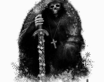 Resting Templar Knight A4 illustration Print
